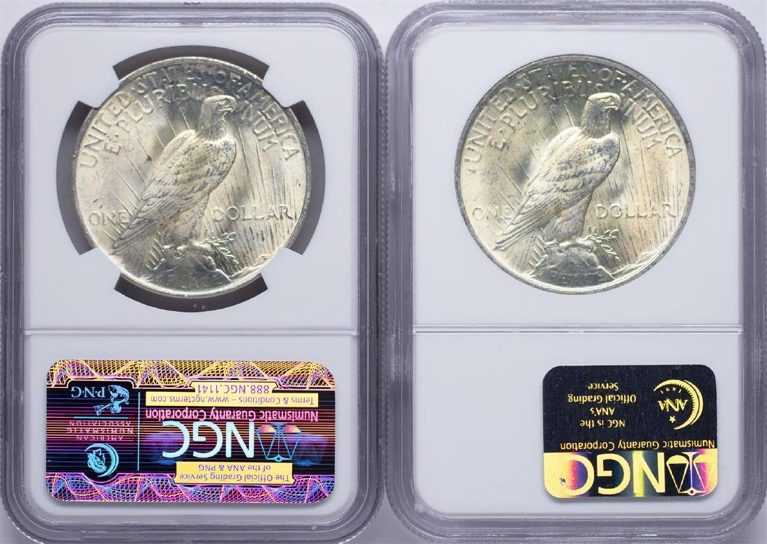 Lot of 1922-1923 $1 Peace Silver Dollar Coins NGC MS65 - 2