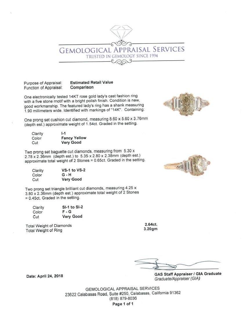 14KT Rose Gold 2.64 ctw Diamond Ring - 5