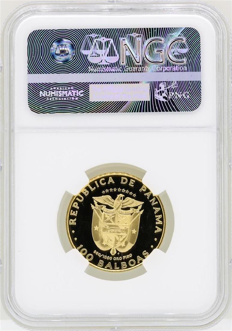 1976FM Panama 100 Balboas Vasco Nunez Gold Coin NGC - 2