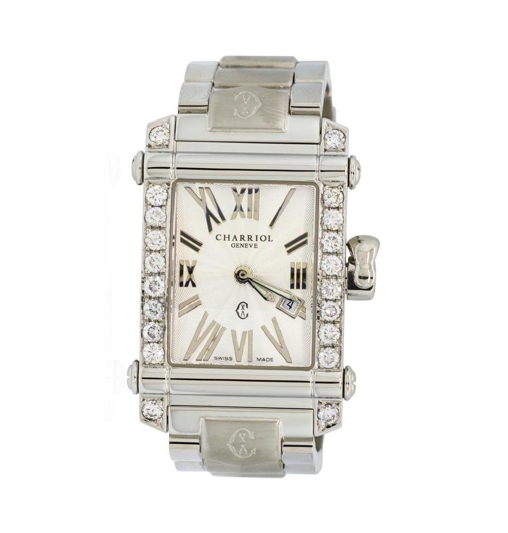 Charriol Columbus Stainless Steel Watch with 0.80 ctw