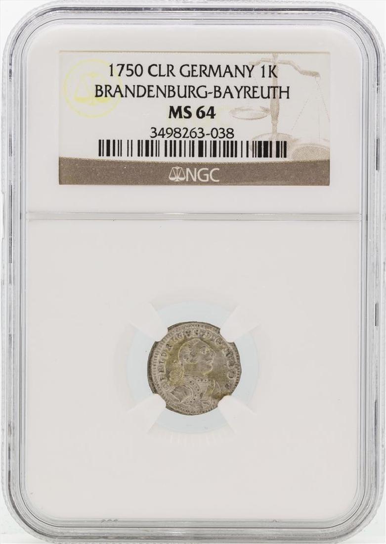 1750 Germany Bradenburg-Bayreuth 1 Kreutzer Coin NGC