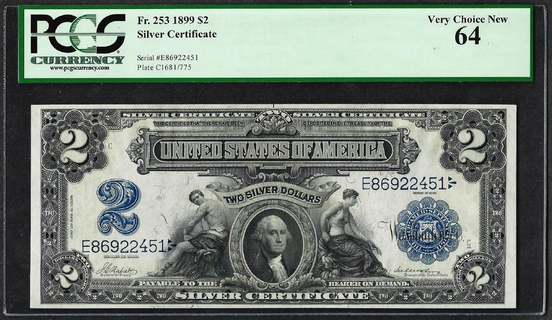 1899 $2 Mini-Porthole Silver Certificate Note Fr.253