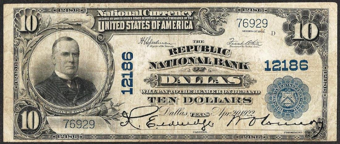 1902PB $10 Republic National Bank of Dallas, Texas CH#