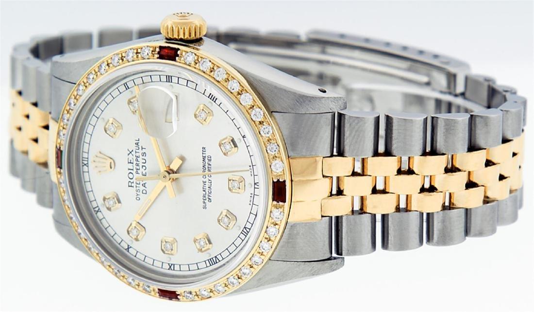Rolex Men's Two Tone 14K Silver Diamond & Ruby Datejust - 4