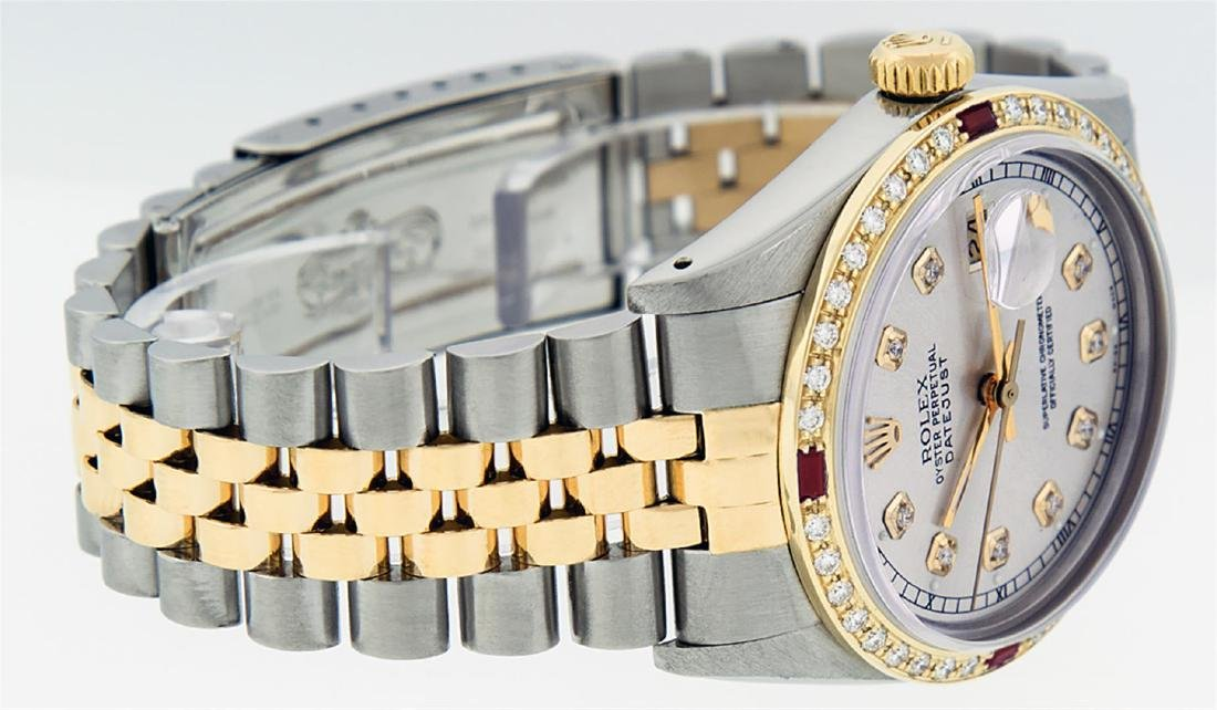 Rolex Men's Two Tone 14K Silver Diamond & Ruby Datejust - 5