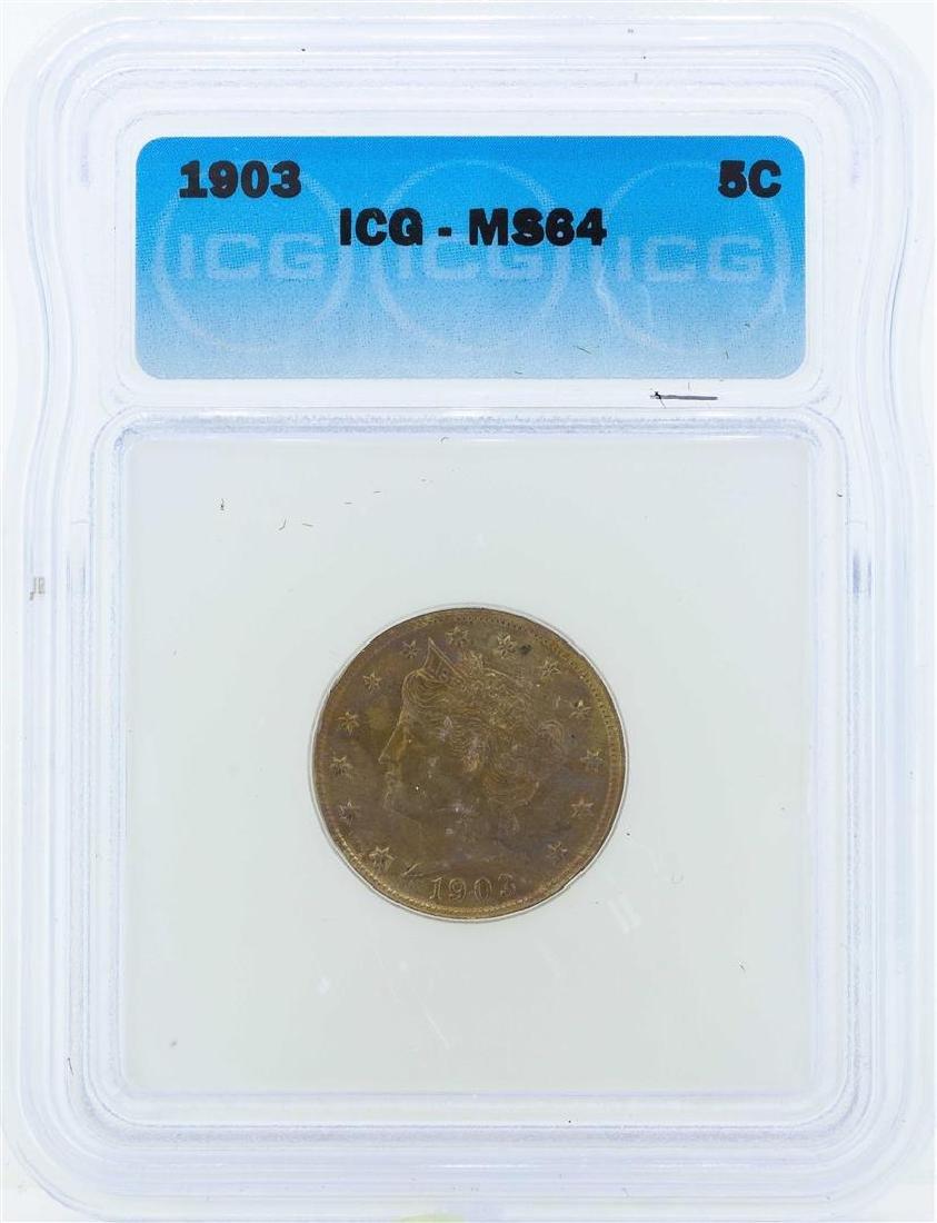 1903 Liberty Head Nickel Coin ICG MS64