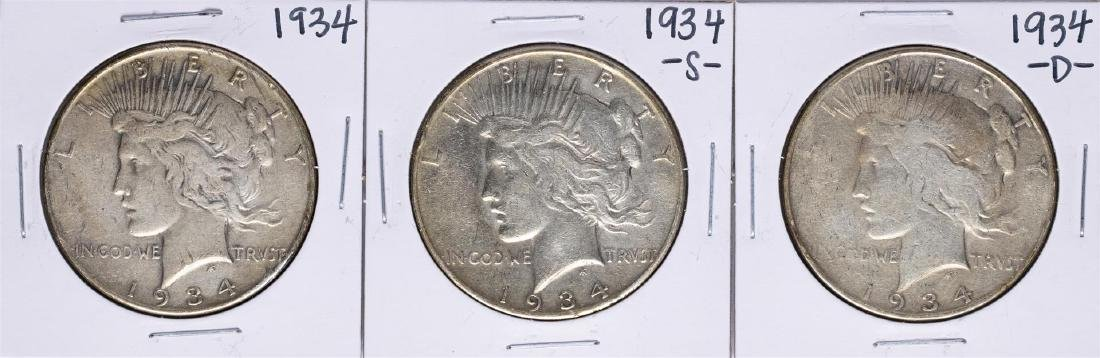 Lot of 1934, 1934-S, & 1934-D $1 Peace Silver Dollar