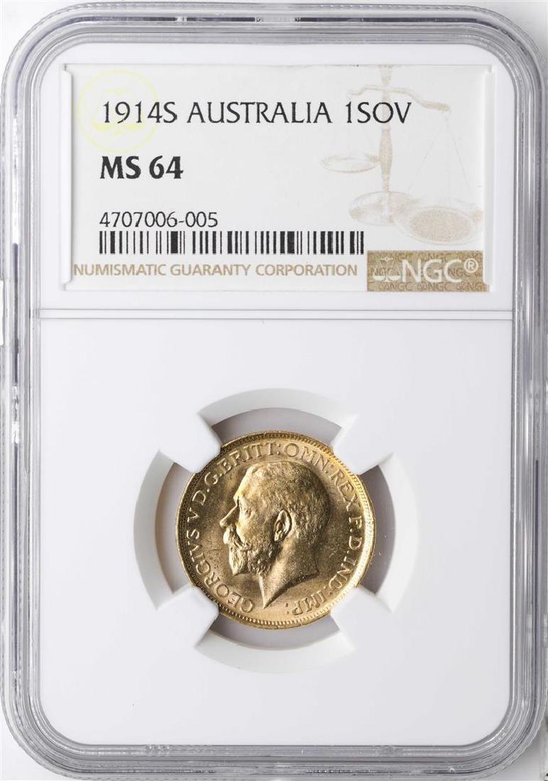 1914S Australia Sovereign Gold Coin NGC MS64