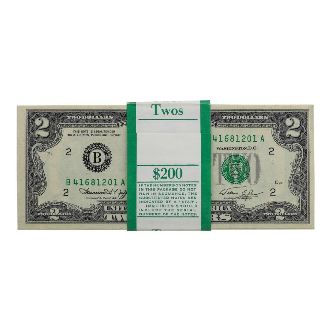 Pack of (100) Consecutive 1976 $2 Federal Reserve Notes