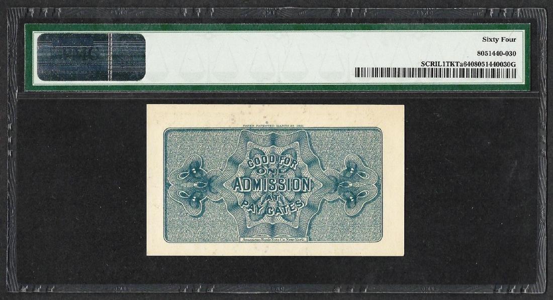 1893 World's Columbian Exposition Ticket Washington PMG - 2