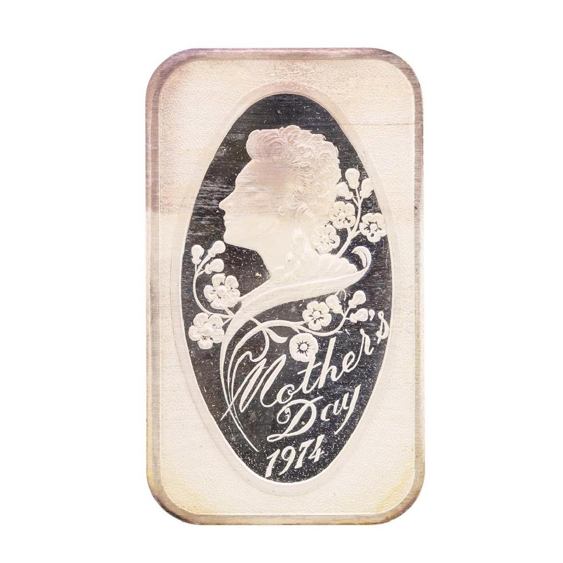 1974 Happy Mothers Day 1 oz .999 Fine Silver Art Bar