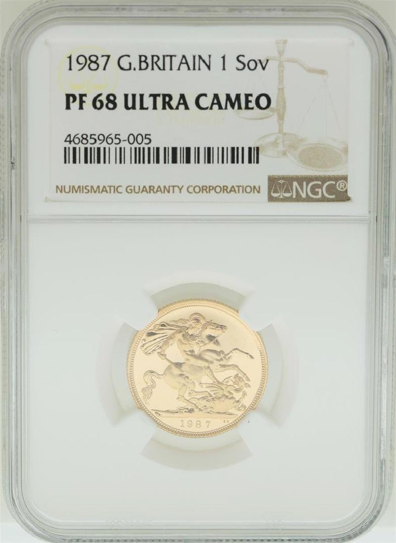 1987 Great Britain Sovereign Gold Coin NGC PF68 Ultra