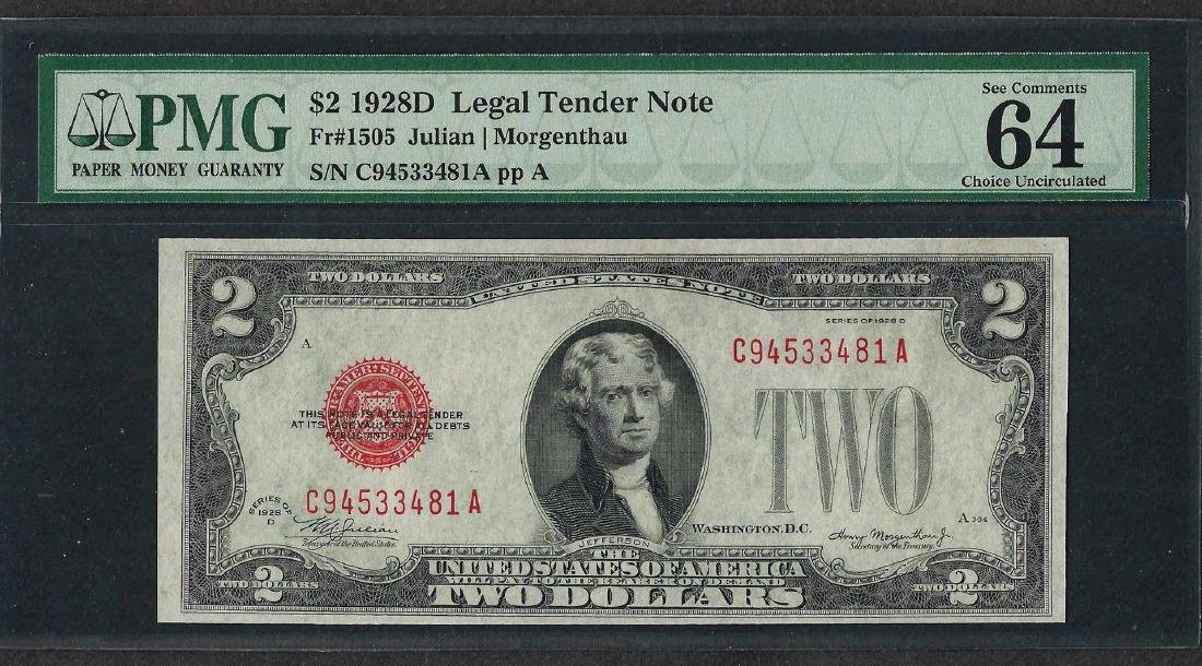 1928D $2 Legal Tender Note Fr.1505 PMG Choice