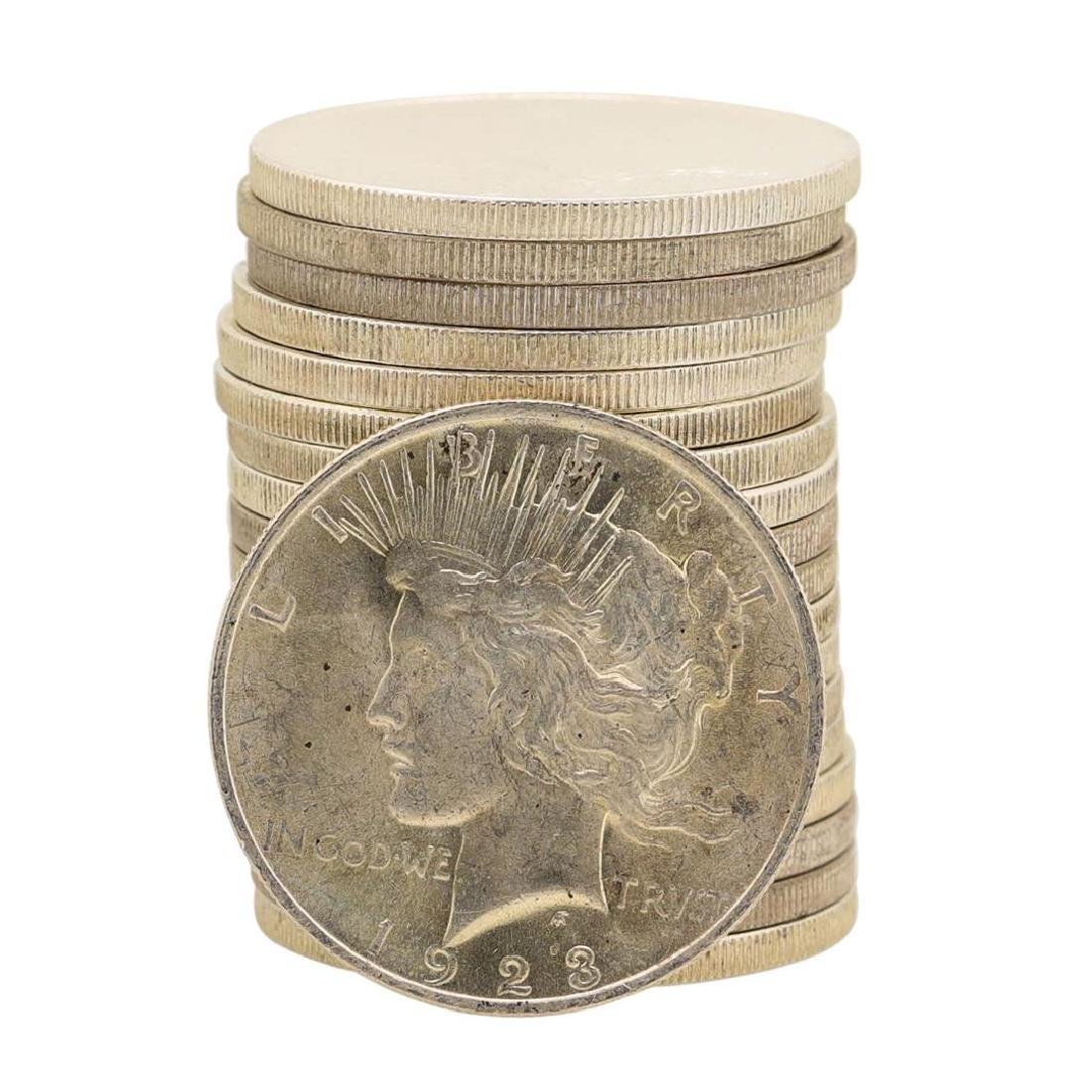 Roll of (20) Brilliant Uncirculated 1923 $1 Peace