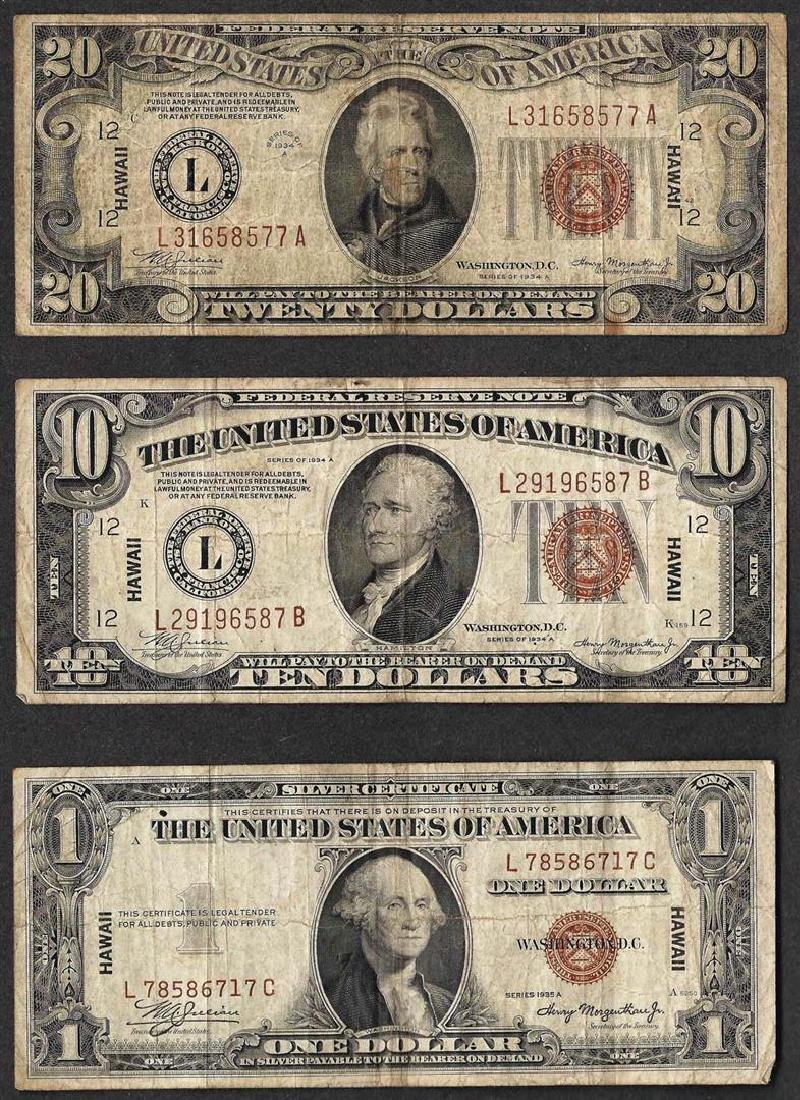 Lot of 1935A $1 & 1934A $10/$20 Silver Certificate WWII