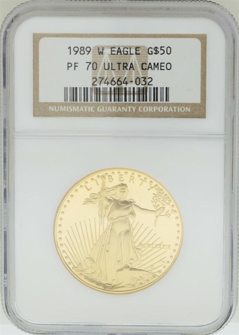 1989-W $50 American Gold Eagle Coin NGC PF70 Ultra