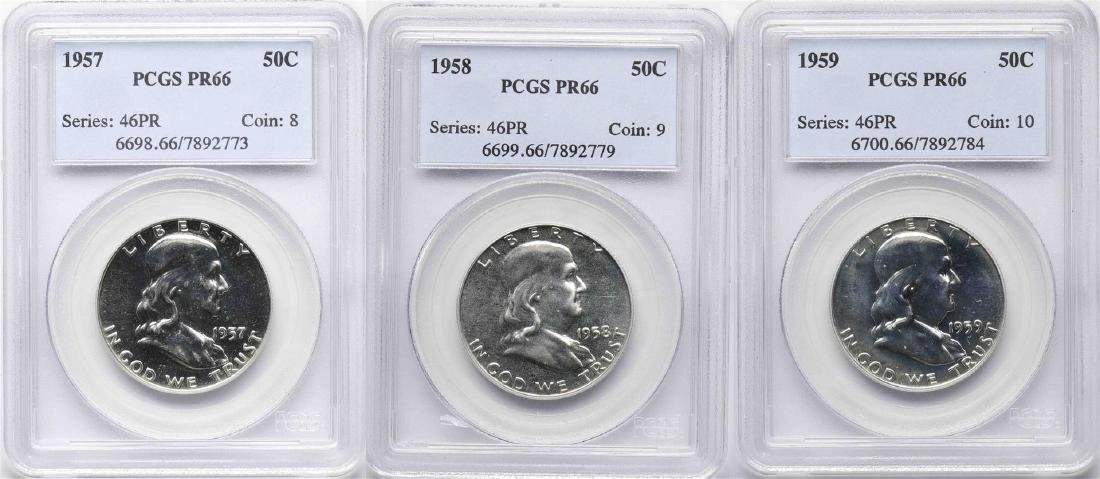 Lot of 1957-1959 Proof Franklin Half Dollar Coins PCGS