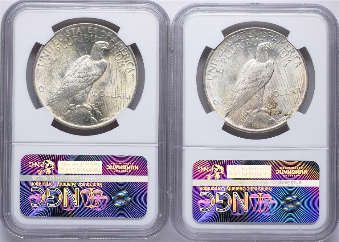 Lot of 1922-1923 $1 Peace Silver Dollar Coins NGC MS63 - 2