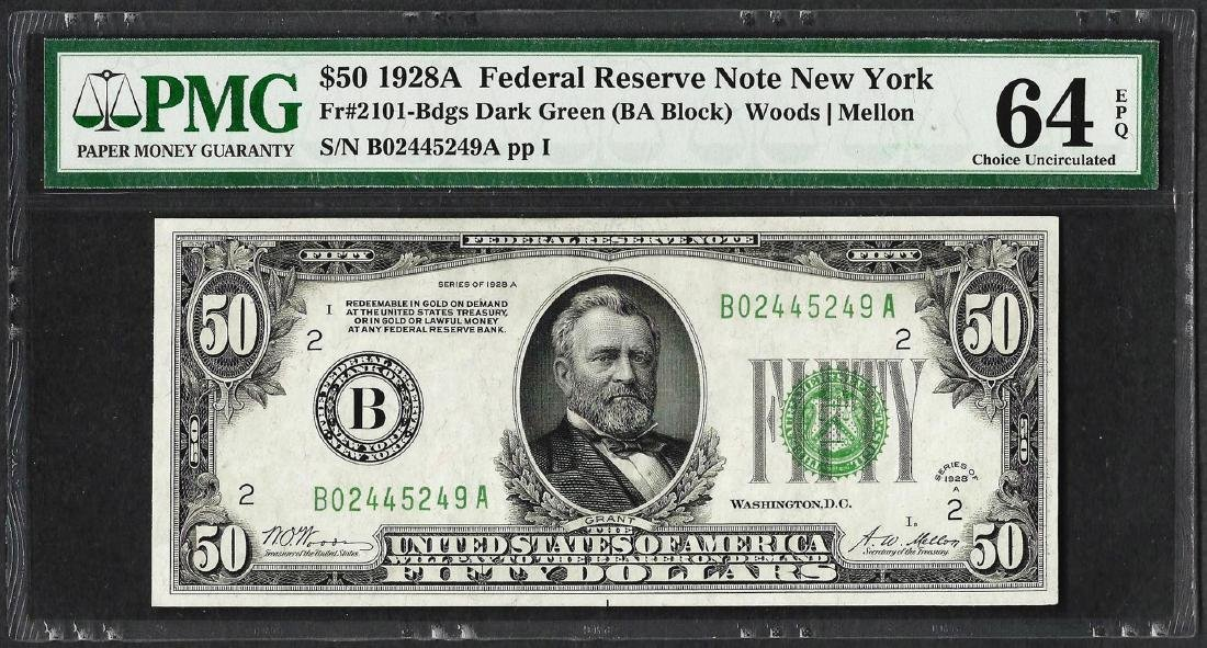 1928A $50 Federal Reserve Note Fr.2101-Bdgs PMG Choice
