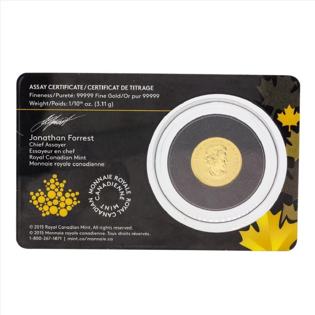 2015 Canada 1/10 oz Gold Howling Wolf .99999 BU Coin - 2