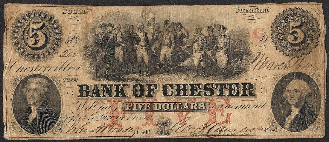 1855 $5 Bank of Chester, SC Obsolete Note