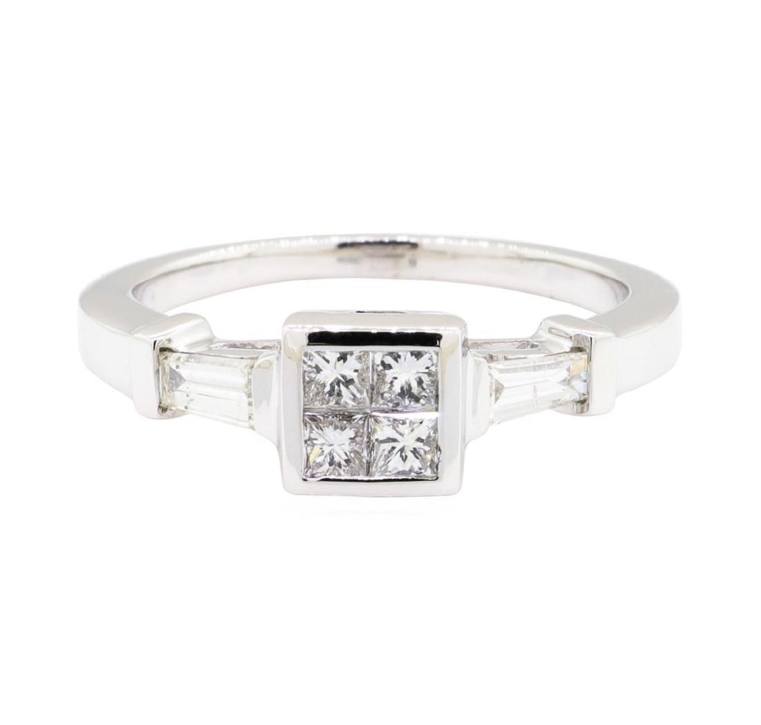 18KT White Gold 0.60 ctw Diamond Engagement Ring - 2
