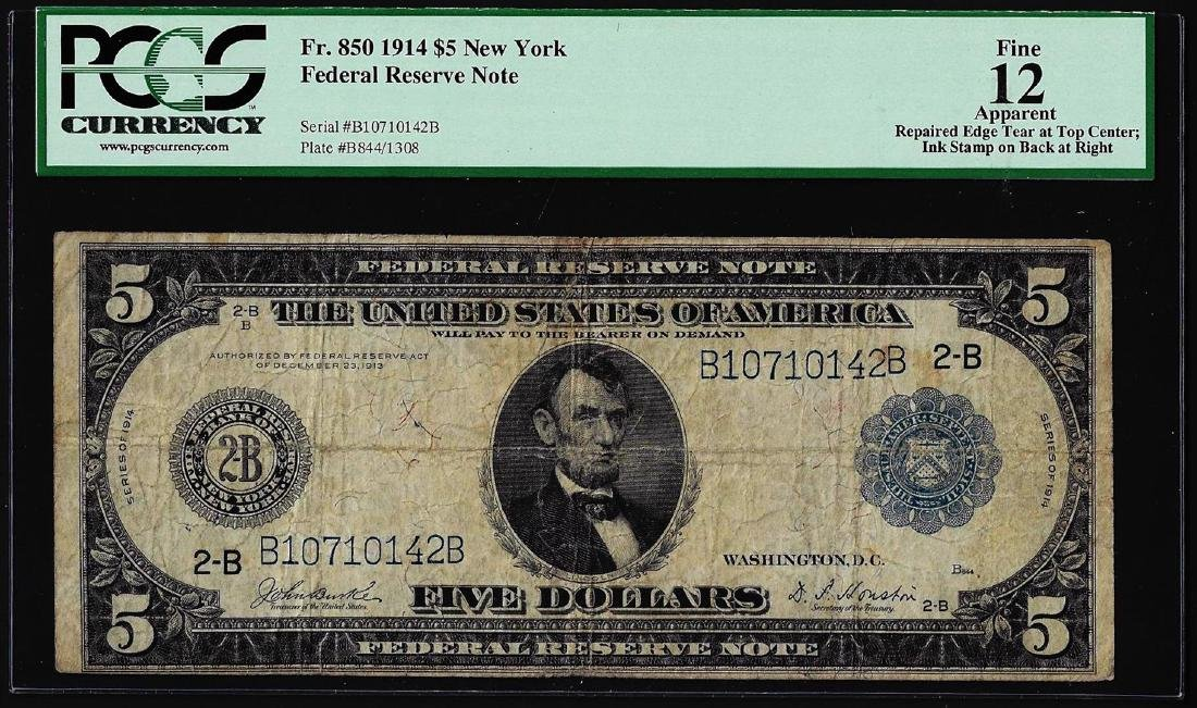 1914 $5 Federal Reserve Note New York Fr.850 PCGS Fine