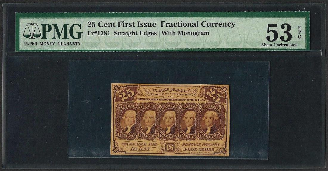 1862 25 Cent First Issue Fractional Currency Note