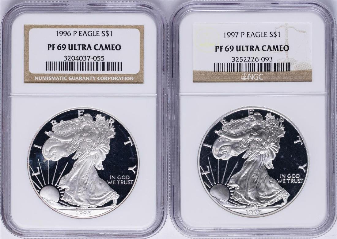 Lot of 1996-P & 1997-P $1 American Silver Eagle Proof
