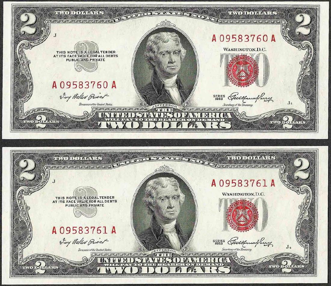 Lot of (2) Consecutive 1953 $2 Legal Tender Notes