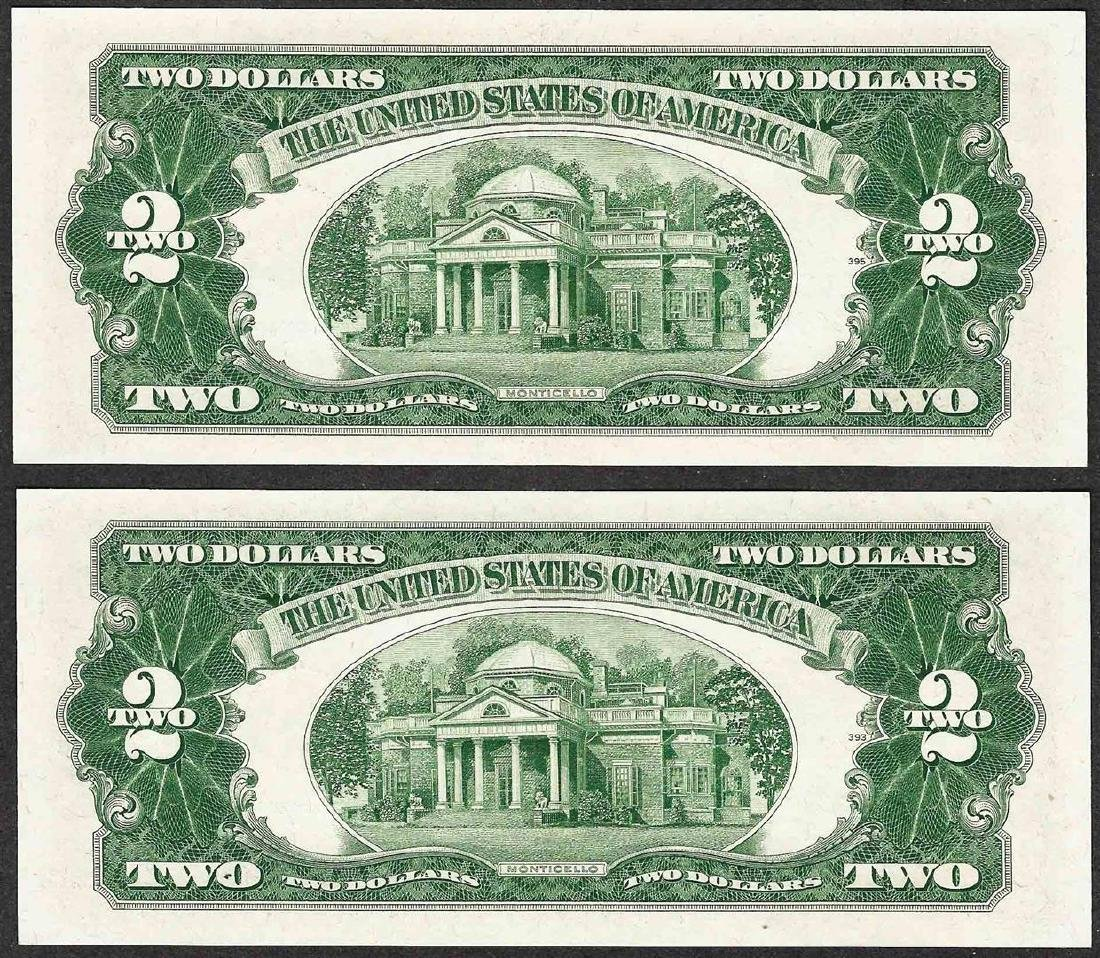 Lot of (2) Consecutive 1953 $2 Legal Tender Notes - 2