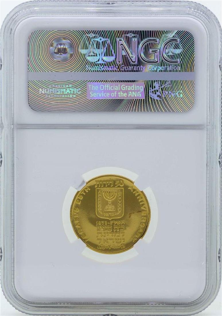 1973 Israel 50 Lirot 25th Anniversary Proof Gold Coin - 2