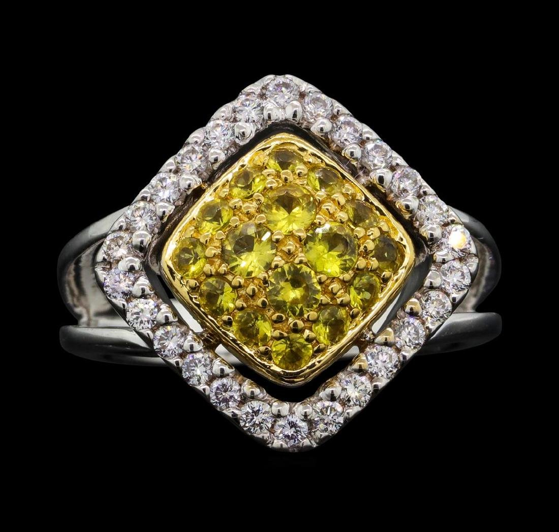 14KT Two Tone Gold 0.52 ctw Yellow Sapphire and Diamond
