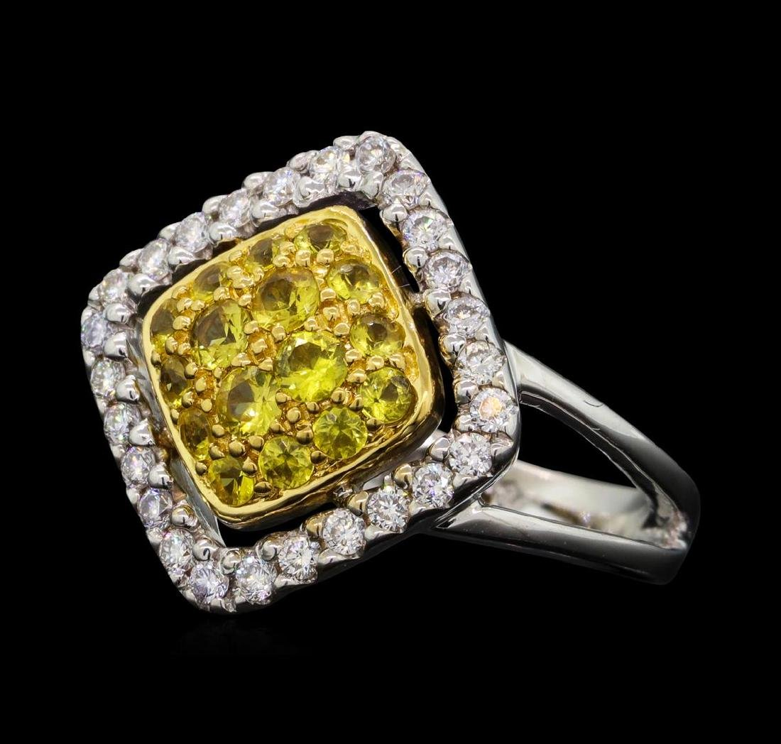 14KT Two Tone Gold 0.52 ctw Yellow Sapphire and Diamond - 2