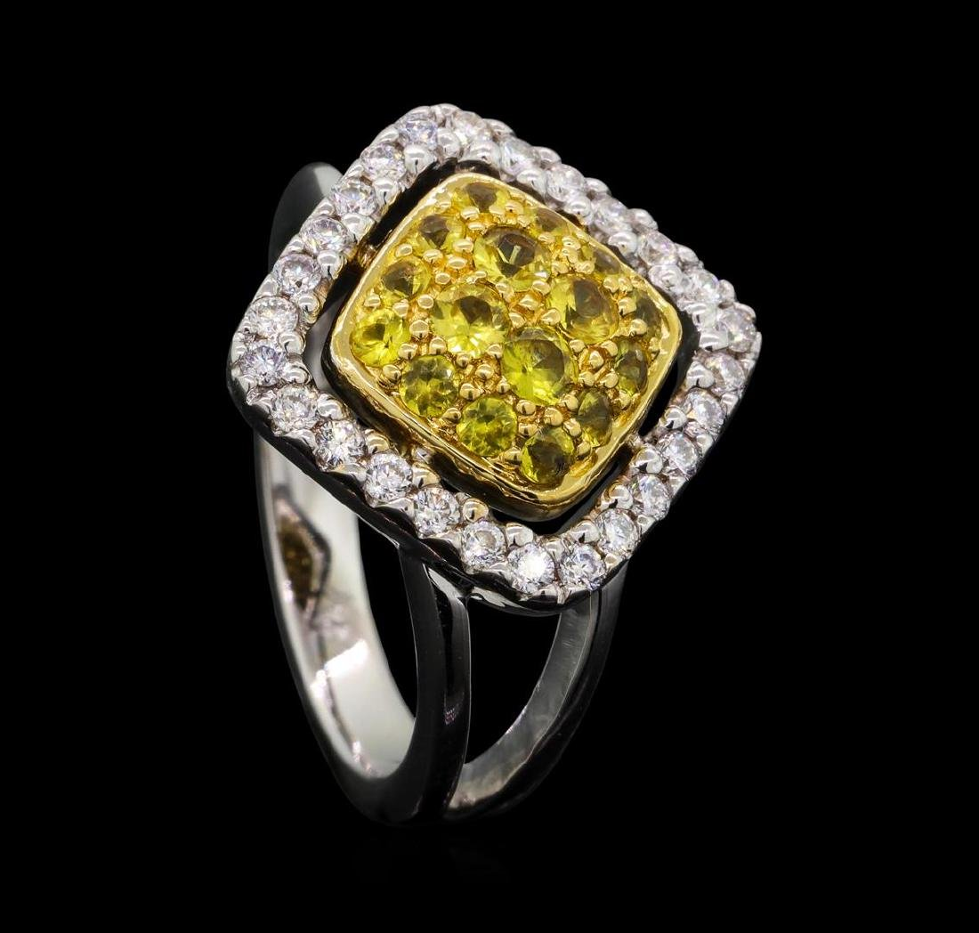 14KT Two Tone Gold 0.52 ctw Yellow Sapphire and Diamond - 4