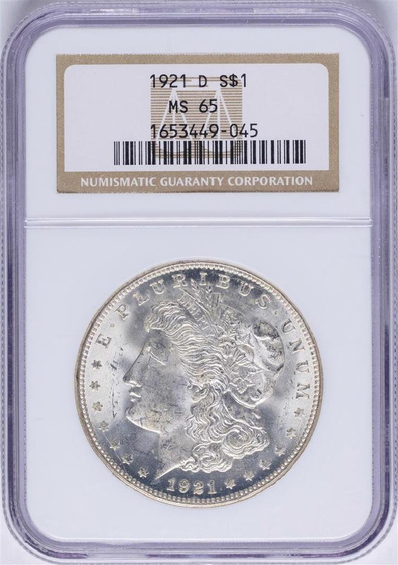 1921-D $1 Morgan Silver Dollar Coin NGC MS65