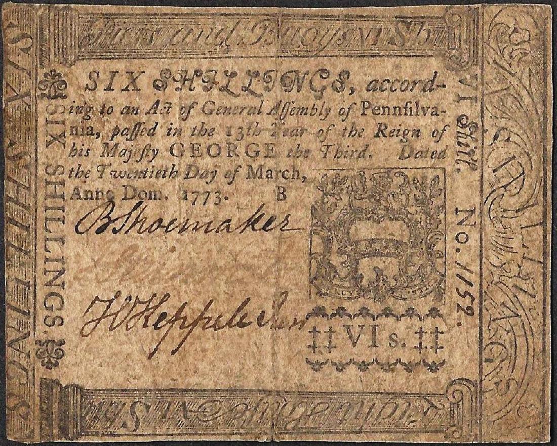 March 20, 1773 Pennsylvania Six Shillings Colonial
