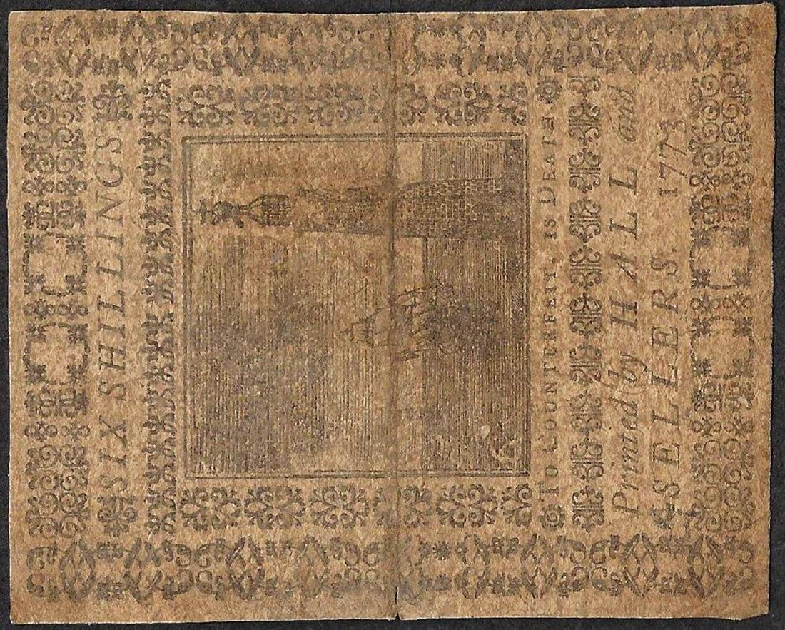 March 20, 1773 Pennsylvania Six Shillings Colonial - 2