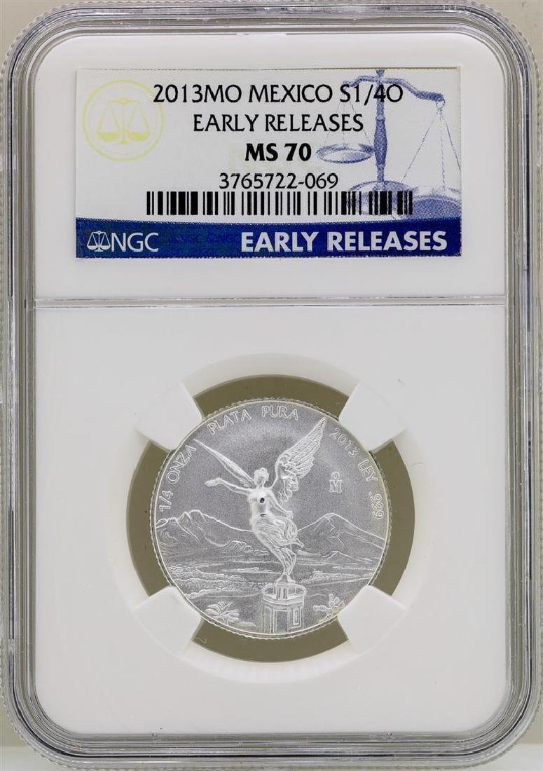 2013MO Mexico 1/4 Onza Libertad Silver Coin NGC MS70