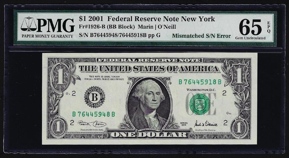 2001 $1 Federal Reserve Note Mismatched Serial Number