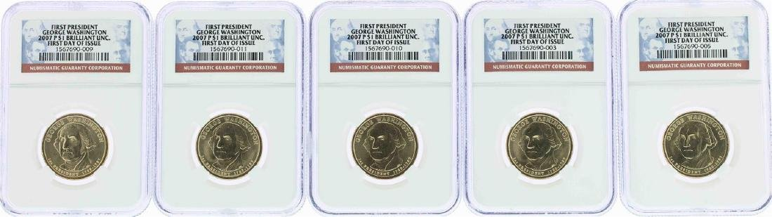 Lot of (5) 2007-P George Washington Presidential Dollar