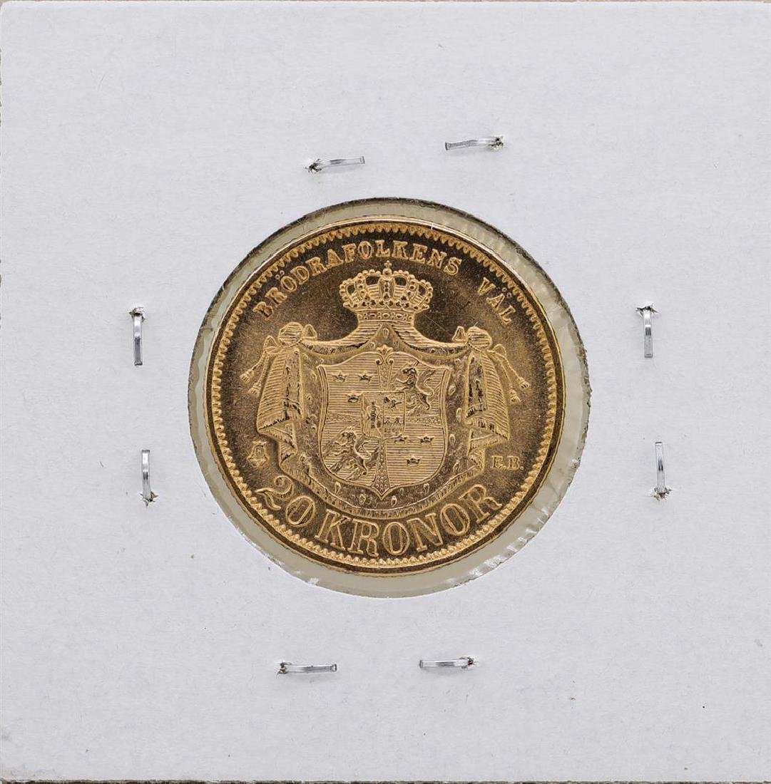 1876-EB Sweden 2 Kroner Gold Coin - 2