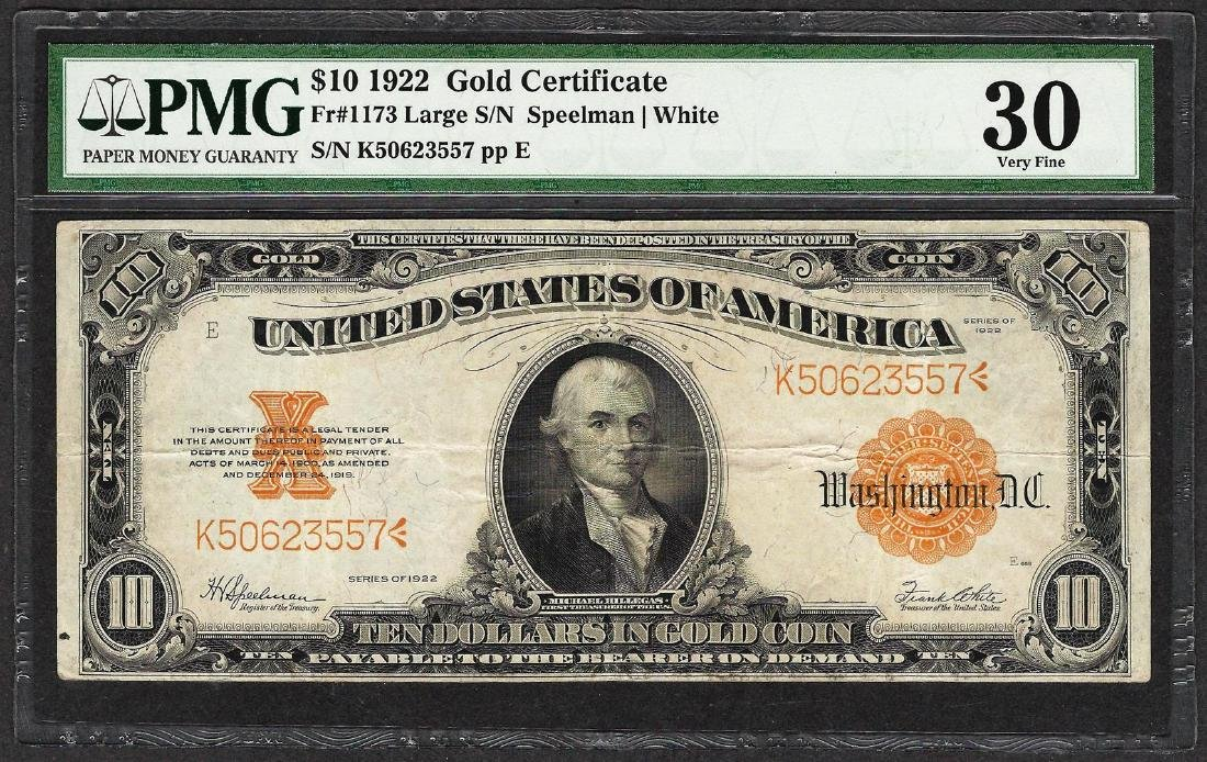 1922 $10 Gold Certificate Note Fr.1173 Large S/N PMG