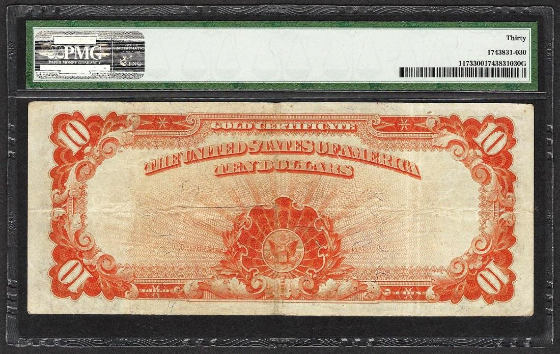 1922 $10 Gold Certificate Note Fr.1173 Large S/N PMG - 2