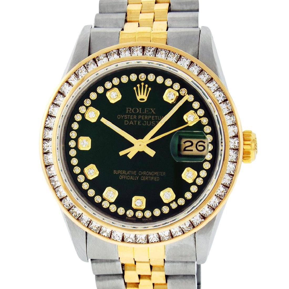 Rolex Mens Two Tone 14K Green String Princess Cut