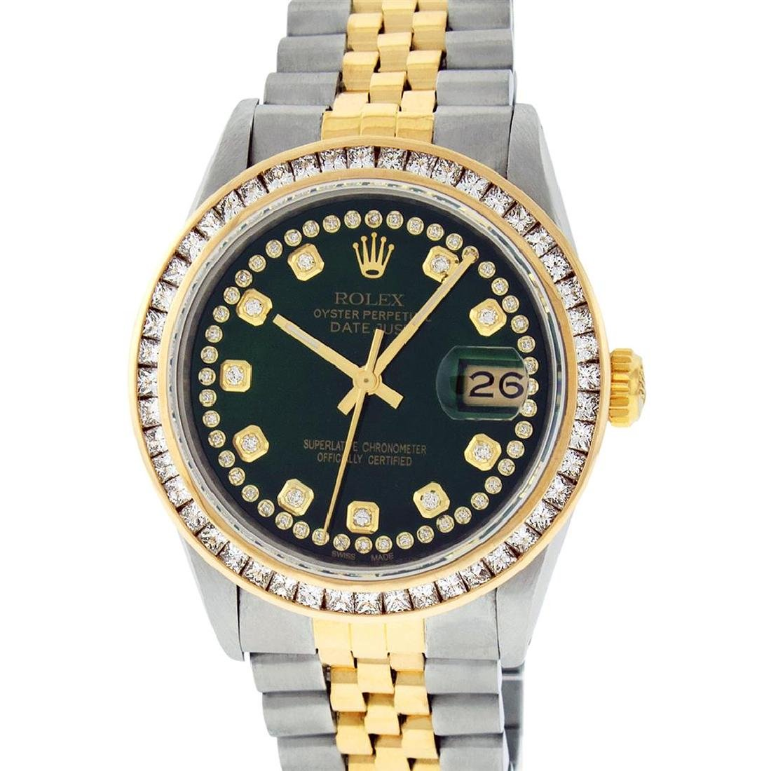 Rolex Mens Two Tone 14K Green String Princess Cut - 2