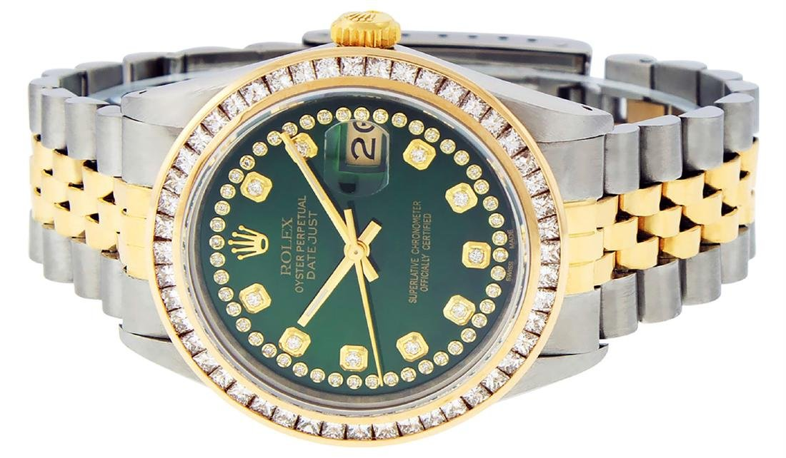 Rolex Mens Two Tone 14K Green String Princess Cut - 5