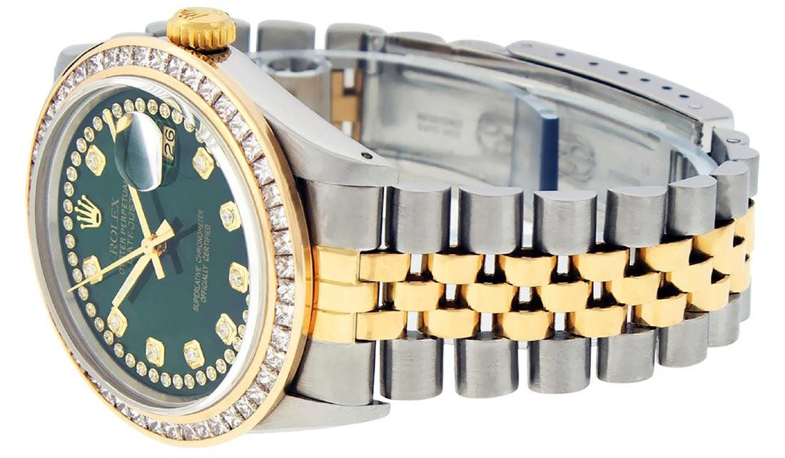 Rolex Mens Two Tone 14K Green String Princess Cut - 6