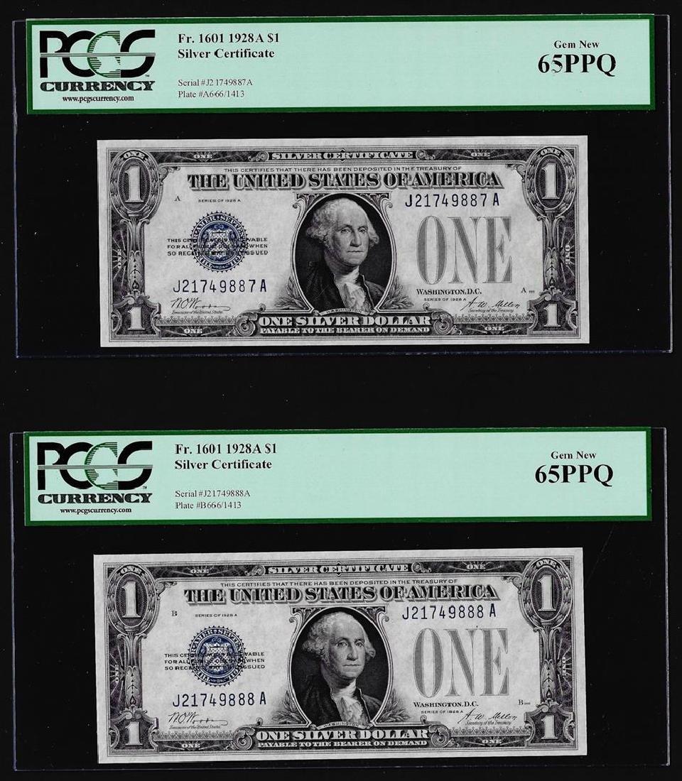 (2) Consecutive 1928A $1 Funnyback Silver Certificate