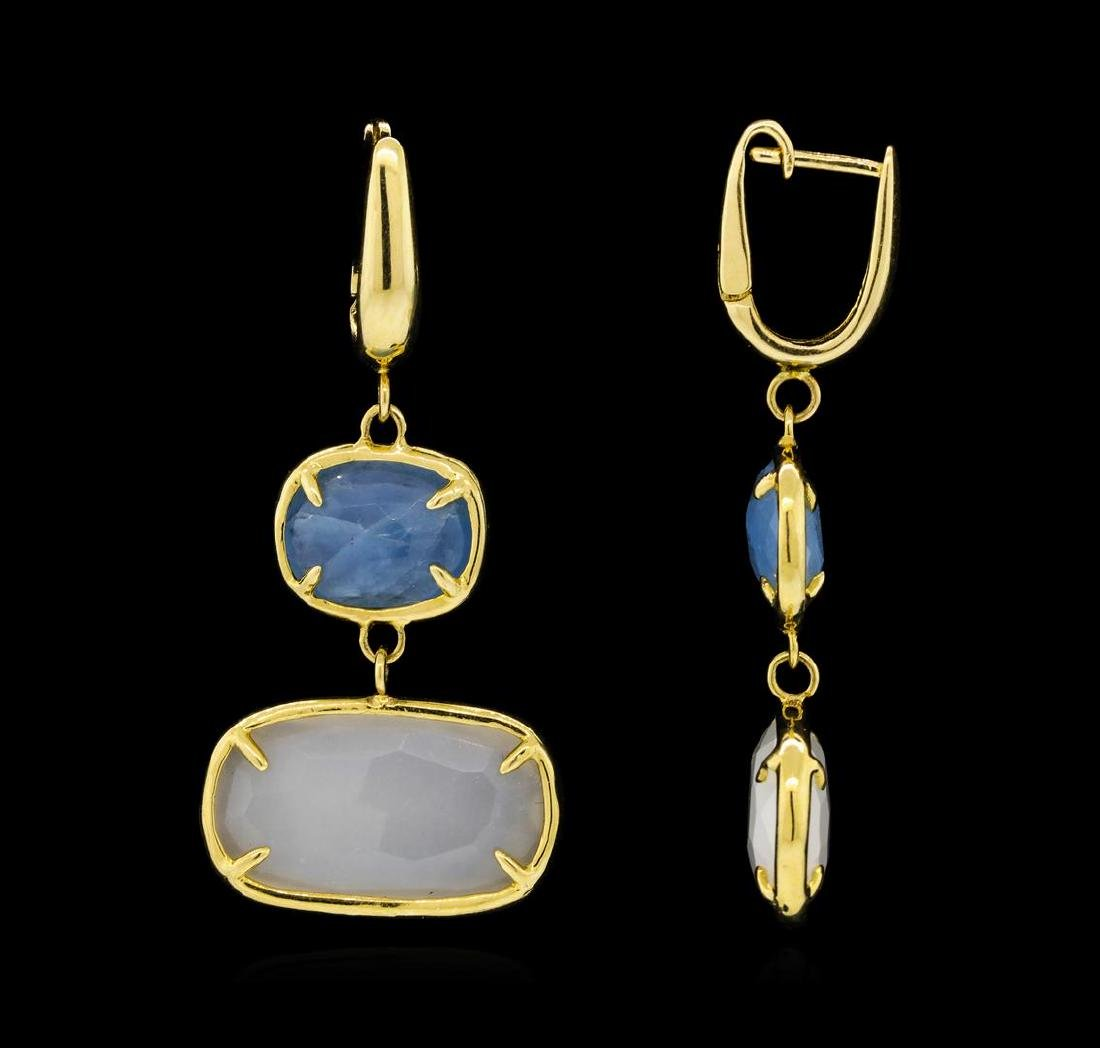14KT Yellow Gold Ladies Gemstone Dangle Earrings - 2